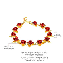 Load image into Gallery viewer, Red Rose Flower Charm Bracelet Gold Exquisite Party Jewelry 2019 Fashion Gift for Women Girls Bridesmaid Dropshipping H1047