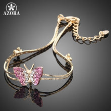 Load image into Gallery viewer, Gold Color Stellux Austrian Crystal Butterfly and Flower Charm Bracelet