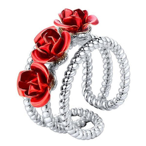3D Adjustable Rose Flower Rings for Women Girls Wedding Engagement Party Gifts Open Ring Charming Elegant Jewelry R1021