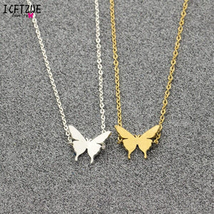 Minimalist Jewelry Pulseras Mujer Gold Colour Stainless Steel Chain Butterfly Bracelet for Women Bijoux BFF