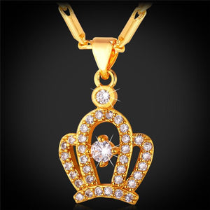 Hot Queen Crown Necklace Pendant With AAA Cubic Zirconia Gold/Silver Color Fashion Necklaces For Women P622