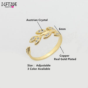 Adjustable Ring Crystal Ring Crystal Flower Leaf Ring For Women Stainless Steel Gold Sliver Wedding Party Womens Jewelry Gifts