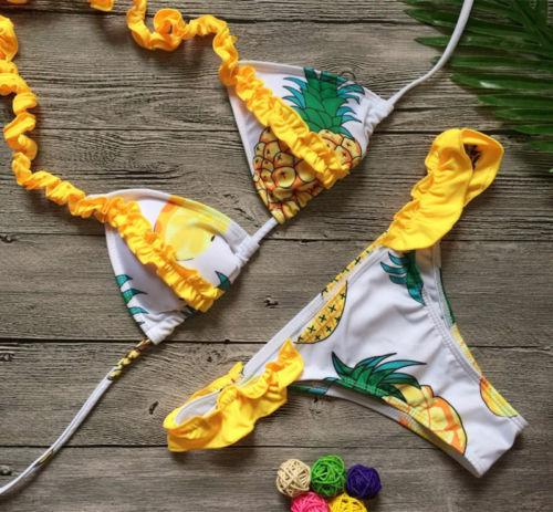Pineapple Swimsuit Push Up Padded Bandage Bikini Set