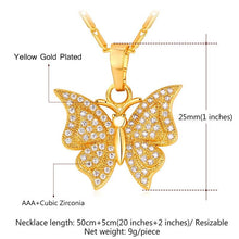 Load image into Gallery viewer, Brand Luxury Butterfly Charm Necklace & Pendant Cubic Zirconia Silver/Gold Color Chain For Women Jewelry Gift P1004