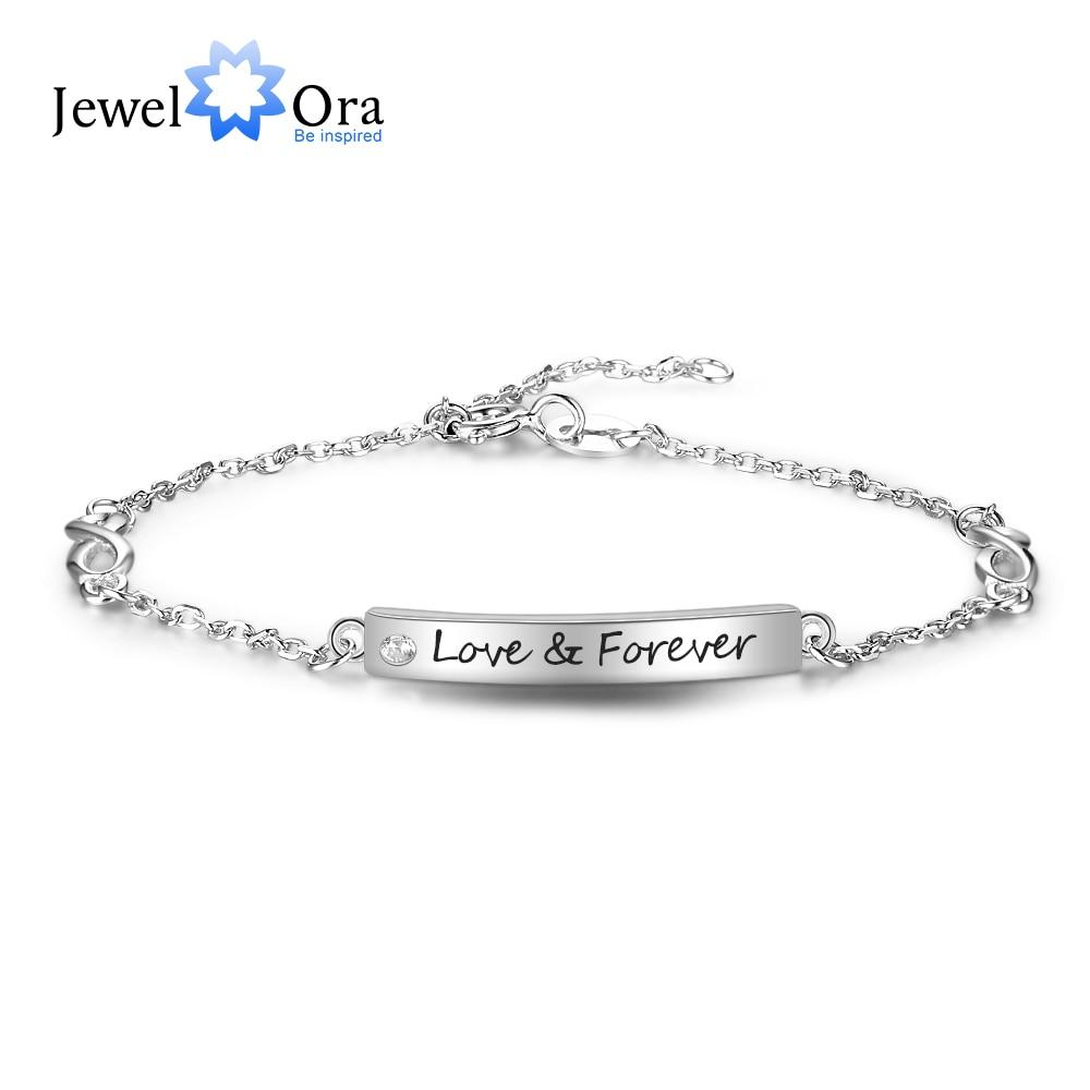 100% 925 Sterling silver Bracelets for Women Customize Engrave Name Bar Bracelets & Bangles Gift for Lovers
