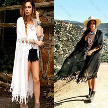 Load image into Gallery viewer, Tassel Jacket Chiffon Cover Up