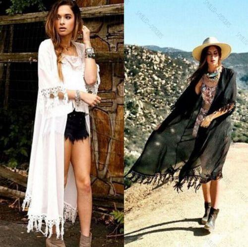Tassel Jacket Chiffon Cover Up