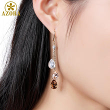Load image into Gallery viewer, Korean Three Water Drop Dangle Earrings Multicolor Austrian Crystals Luxury Wedding Earing for Brides