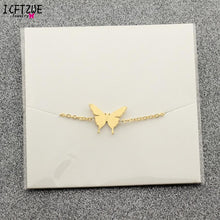 Load image into Gallery viewer, Minimalist Jewelry Pulseras Mujer Gold Colour Stainless Steel Chain Butterfly Bracelet for Women Bijoux BFF
