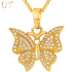 Brand Luxury Butterfly Charm Necklace & Pendant Cubic Zirconia Silver/Gold Color Chain For Women Jewelry Gift P1004