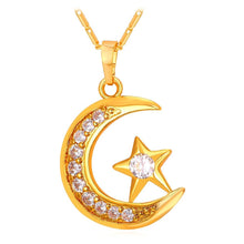 Load image into Gallery viewer, Crescent Pendant Necklace Silver/Gold Color Cubic Zirconia CZ  Moon Star Jewelry Women Gift