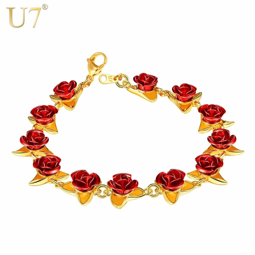 Red Rose Flower Charm Bracelet Gold Exquisite Party Jewelry 2019 Fashion Gift for Women Girls Bridesmaid Dropshipping H1047