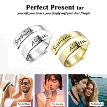 Load image into Gallery viewer, Personalized Gift Customized Engraved Name Stainless Steel Adjustable Rings for Women Anniversary Jewelry