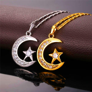 Crescent Pendant Necklace Silver/Gold Color Cubic Zirconia CZ  Moon Star Jewelry Women Gift
