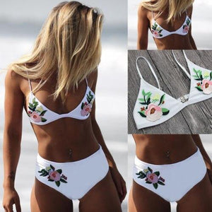 Embroidery Floral Swimming Suit Padded Push-up Bra Bikini Set