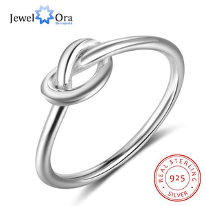 Genuine 925 Sterling Silver Knot Rings for Women Girls Female Finger Jewelry Birthday Gift for Best Friend
