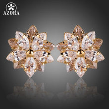 Load image into Gallery viewer, Gold Color Lotus Flower With 10pcs Top Quality Cubic Zirconia Stud Earrings