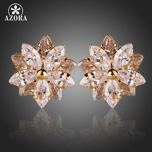 Gold Color Lotus Flower With 10pcs Top Quality Cubic Zirconia Stud Earrings
