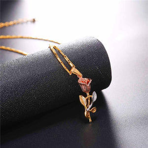 Rose Flower Necklace & Pendant Gold Color Women Hot Wife Fashion Necklaces Bridesmaid Jewelry Gift