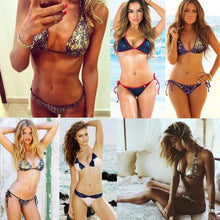 Load image into Gallery viewer, Sequin Swimming Suit Push Up Beach Swimwear Triangle Bra