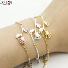 Load image into Gallery viewer, Gold Rose Flower Bracelets Women Pulseira Armbanden Voor Vrouwen Goud Chain Link Bracelets Pulseras Bridesmaid Gift BFF