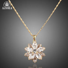Load image into Gallery viewer, Sunflow Design Gold Color Gold Stellux Austrian Crystals Paved Pendant Necklace