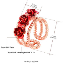 Load image into Gallery viewer, 3D Adjustable Rose Flower Rings for Women Girls Wedding Engagement Party Gifts Open Ring Charming Elegant Jewelry R1021