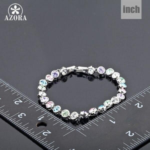 White Gold Color Stellux Austrian Crystal Multicolour Round End to End Bracelet
