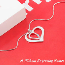 Load image into Gallery viewer, Personalized Engraved Name Heart Necklace Pendants Custom Birthstone 925 Sterling Silver Friendship Necklace
