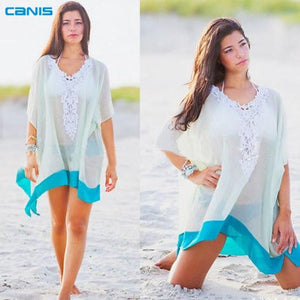 Lace Beach Cotton V-neck Cover up