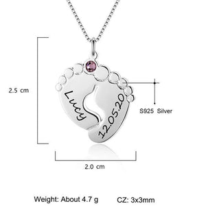 Personalized Baby Feet Necklace with Birthstone 925 Sterling Silver Customized Name Pendant Necklace Gift