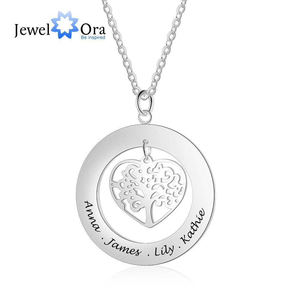 Personalized Tree of Life Engrave Name Necklace 925 Sterling Silver Custom Necklaces & Pendants Family Gifts