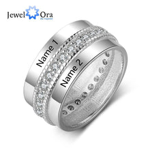 Load image into Gallery viewer, Fashion Personalized Engagement Ring Copper Custom Rings for Women Engraved Lover's Name Cubic Zircon Jewelry