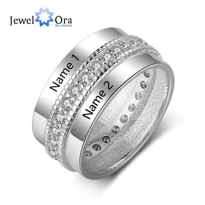 Fashion Personalized Engagement Ring Copper Custom Rings for Women Engraved Lover's Name Cubic Zircon Jewelry
