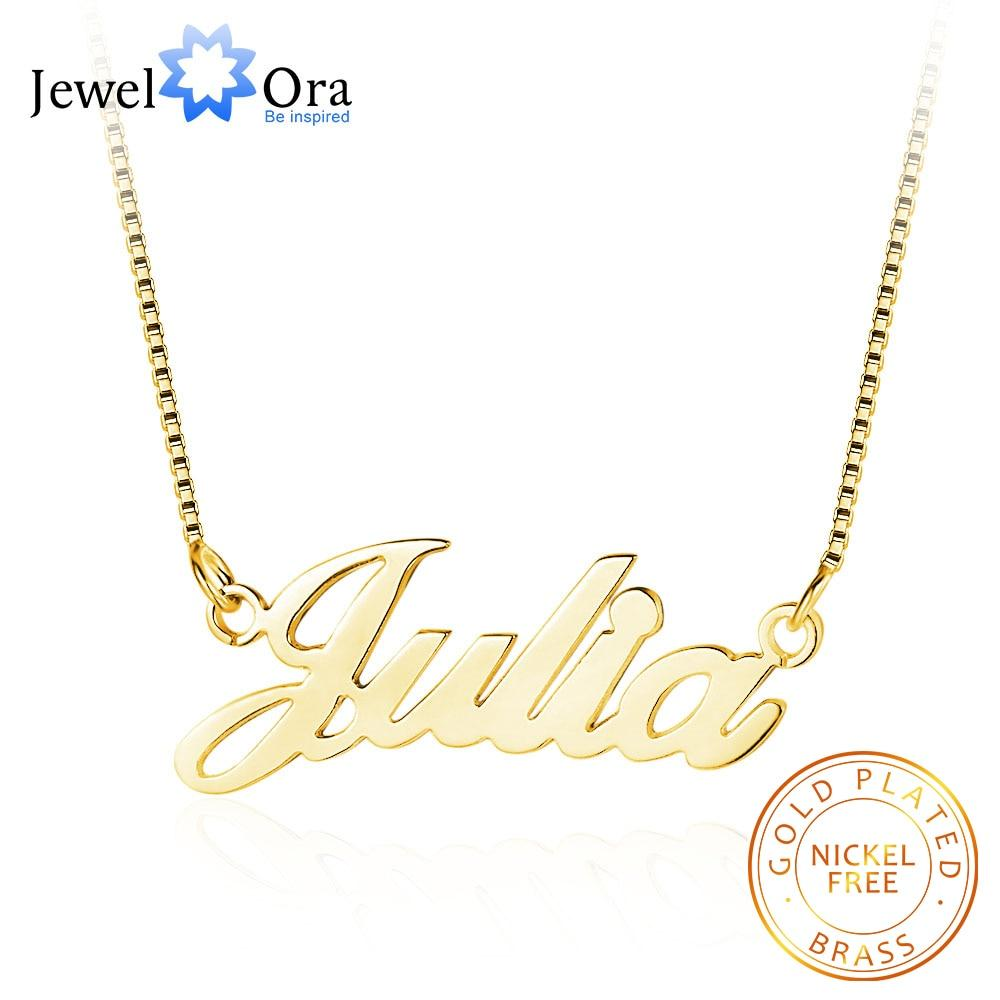Personalized Nameplate Necklace 3 Colors Copper Name Necklaces for Women Customized Your Name Jewelry Best Friend Gift