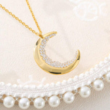Load image into Gallery viewer, Crescent Moon Necklaces For Women Accessories Stainless Steel Long Chain Double Horn Necklaces Pendants Rose Gold Gifts