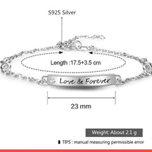 Load image into Gallery viewer, 100% 925 Sterling silver Bracelets for Women Customize Engrave Name Bar Bracelets & Bangles Gift for Lovers