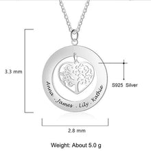 Load image into Gallery viewer, Personalized Tree of Life Engrave Name Necklace 925 Sterling Silver Custom Necklaces & Pendants Family Gifts