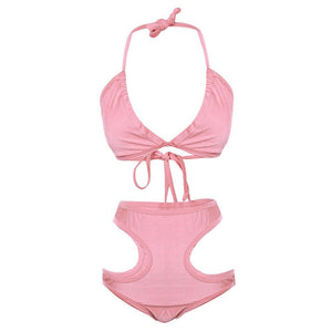Hollow Out High Waist Padded Bikini Set