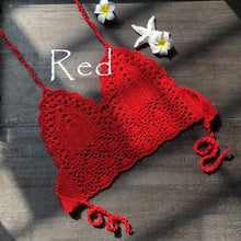 Load image into Gallery viewer, Crochet Red Bikini Top Knit Sexy Bikinis