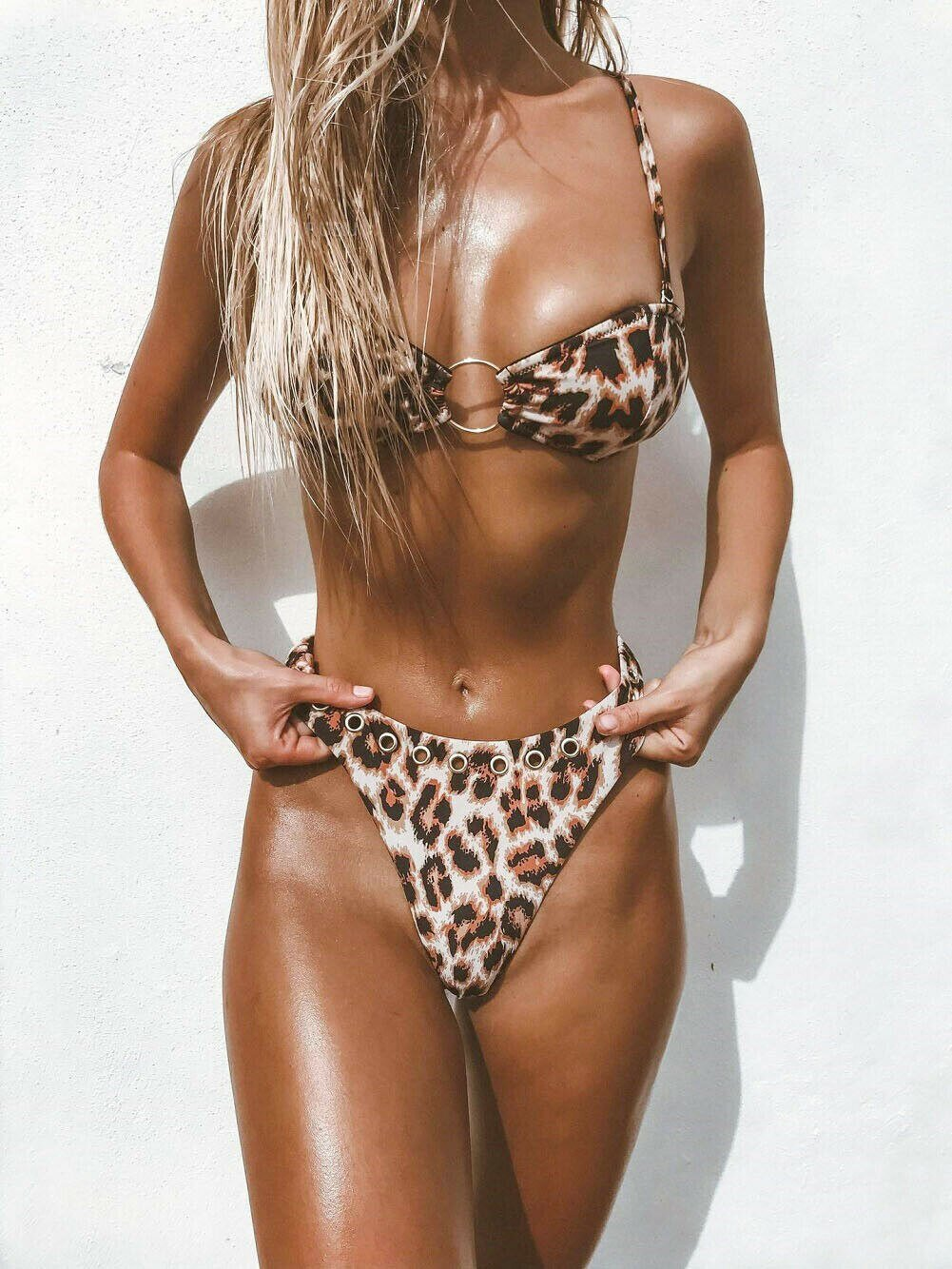Leopard Bikini Set Floral Swimsuit