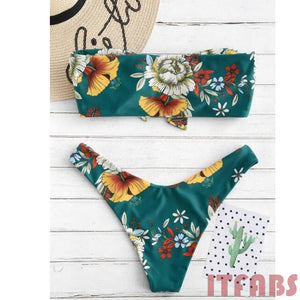 Flower Bikini Set Strapless Swimwear Bathing suit