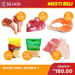 Mixed Grill Bundle 1: Aust Grassfed Ribeye (3) + Lamb Rack (3) + Salmon Steak 200g (3) + Chicken Chop 2kg + Shoestring Fries 1kg + Mixed Vegetable 1kg