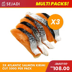 3 packs x Atlantic Salmon Kirimi Cut 100g (500g per pack)