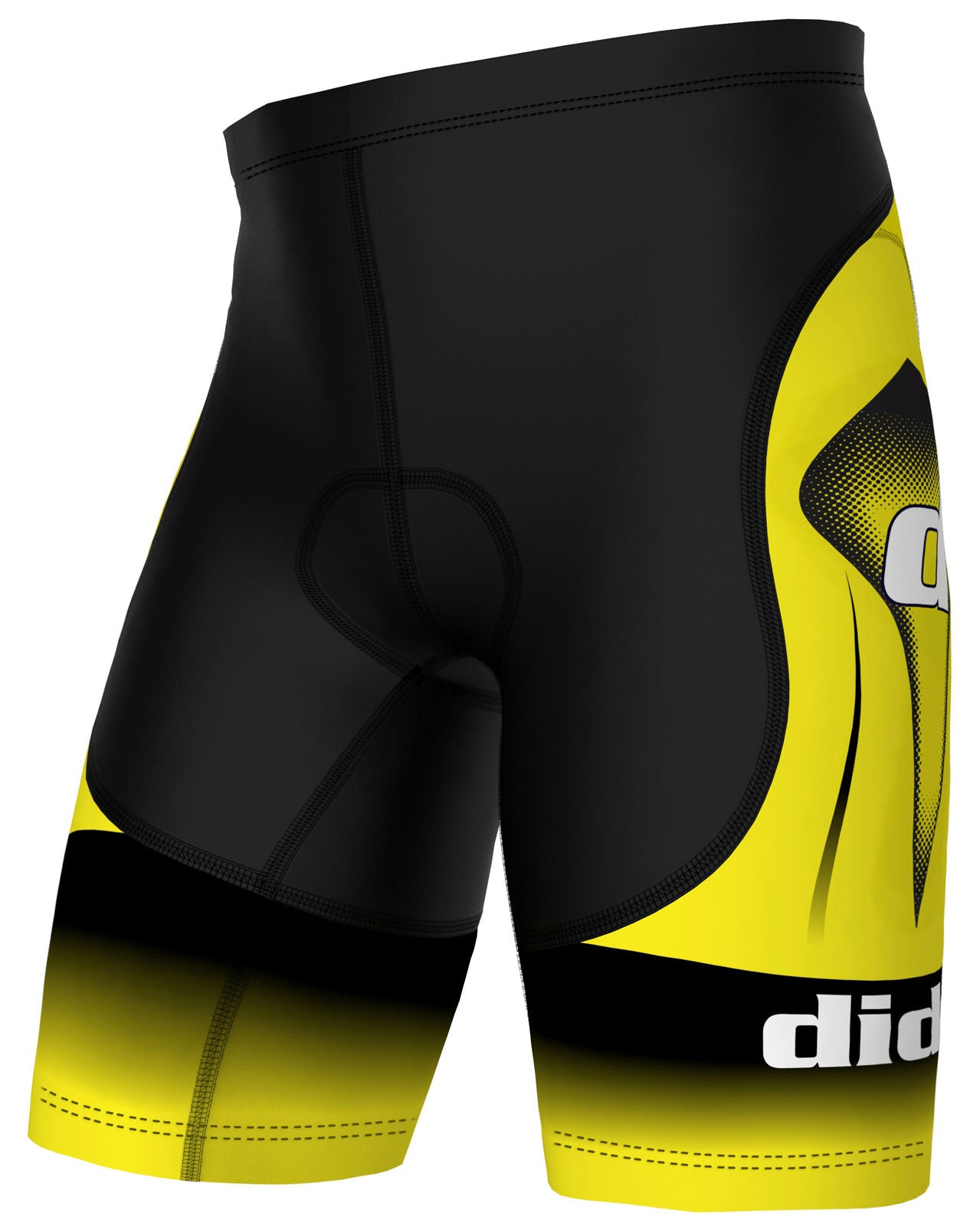 Yellow and Black Padded Cycling Shorts