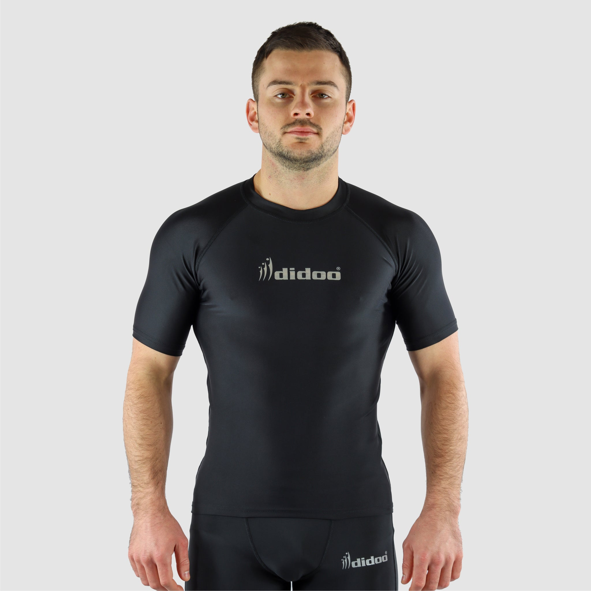 Black DiDOO Men's Compression Baselayer Top Short Sleeve