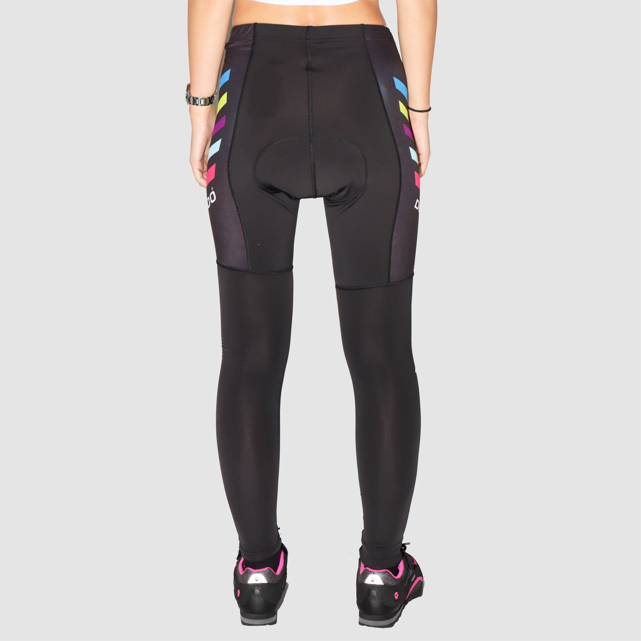 DiDoo Women Pro Padded Winter Cycling Pants Black and Multicolour Strips