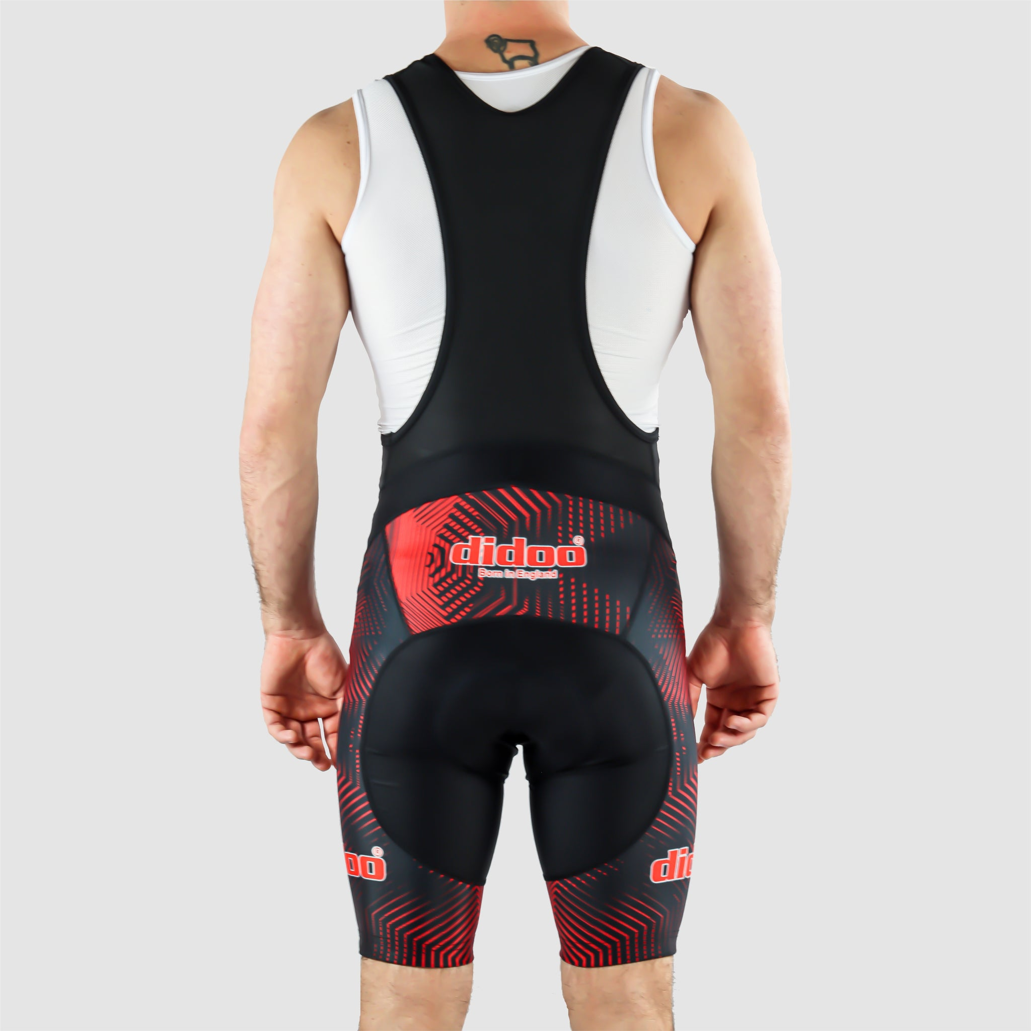 DiDOO Men's Classic Quick Dry Padded Cycling Bib Shorts Black and Red