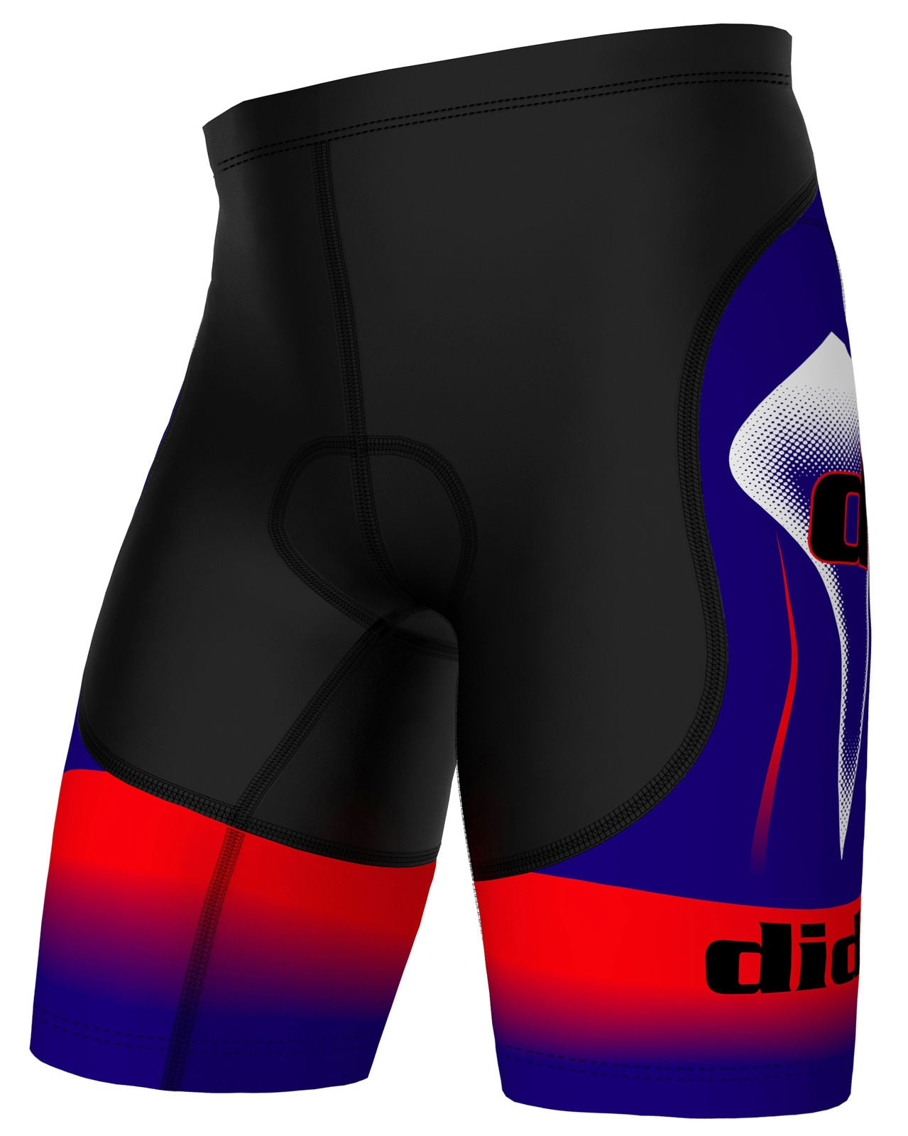 Blue Red and Black Padded Cycling Shorts