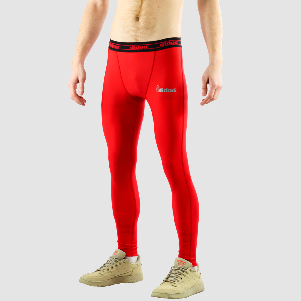 Red DiDOO Men's Compression Base Layer Leggings